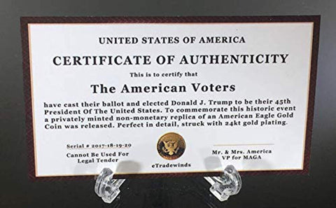 Donald Trump 4 Gold Coin Set, 45th 1st Term Presidential Collector's Edition, Commemorative Gold Plated Replica Coins 2017, 2018, 2019, 2020, Rectangle Display Case, Cert. of Authenticity (White 1Pak)
