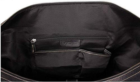 "Image of Vintage Expandable Duffel Bag Leather Weekender Luggage Travel Bag [18"" Black]"