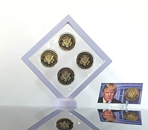 Image of Donald Trump Gold Coin Set, 4 Year Presidential Term Collector's Edition, Commemorative Gold Plated Replica Coins 2017, 2018, 2019, 2020, Diamond Display Case, Cert. of Authenticity (White 1Pak)