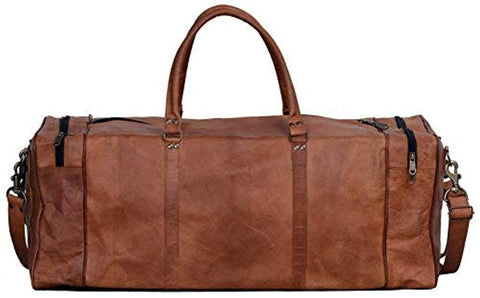 Image of Leather Duffel Bag Large 28 inch Travel Bag Gym Sports Overnight Weekender Bag
