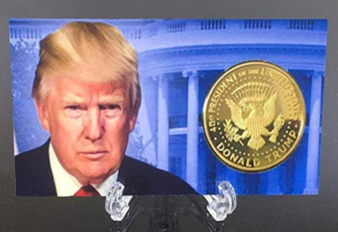 Image of Donald Trump 4 Gold Coin Set, 45th 1st Term Presidential Collector's Edition, Commemorative Gold Plated Replica Coins 2017, 2018, 2019, 2020, Rectangle Display Case, Cert. of Authenticity (White 1Pak)
