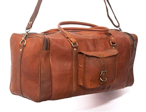 Image of Leather Overnight Duffle Bag Handmade - 3 Large Compartments for Laptops and Folders - Handsome Patina Deepens as Ages - Waterproof, Ideal for Business, Travel, Gym - Suits Men or Women