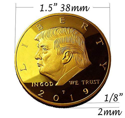 Image of 2019 Donald Trump Replica Gold Pieces, 45th Presidential Edition 24kt Gold Plated Medallion & Display Case eTradewinds (1- Pack 2019)