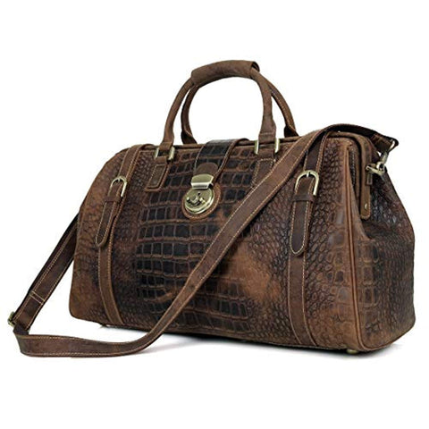 "21"" Crocodile Pattern Cowhide Leather Weekender Travel Overnight Luggage Duffel Bag"