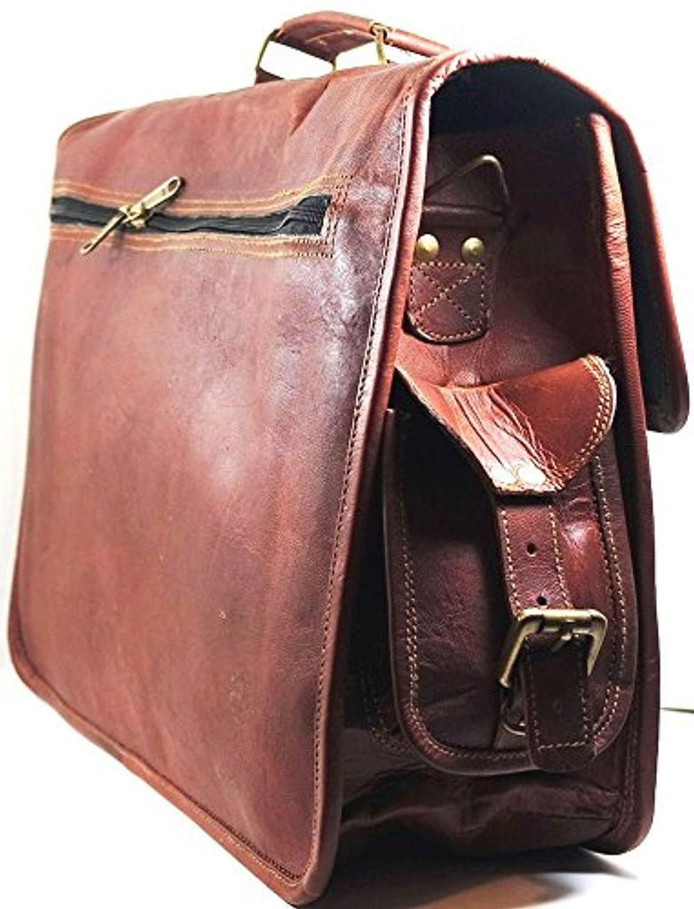Handmade 16 Inch Leather Messenger Bag Shoulder Men Laptop Briefcase Vintage Satchel