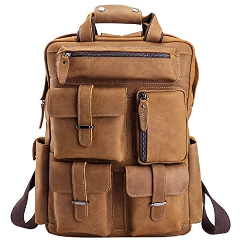 Mens Handcrafted Real Leather Vintage Laptop Backpack Shoulder Bag Travel Bag Large