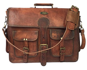 Handmade18 Inch Vintage Handmade Leather Messenger Bag for Laptop Briefcase Best Computer Satchel School Distressed Bag (18 inch)