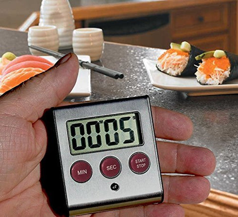 Elegant Digital Kitchen Timer, Stainless Steel Model eT-23P, SUPER Strong Magnetic Back, Loud Alarm, Large Display, Auto Memory, Auto Shut-Off (eT-23Plum)