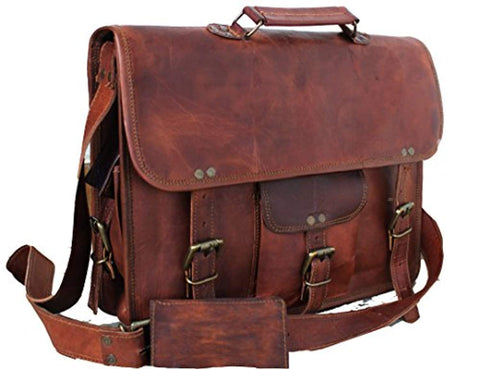 Image of Handmade Leather Unisex Real Leather Messenger Bag for Laptop Briefcase