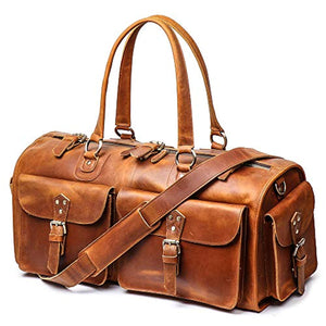 "Leather Weekend Bag Mens Leather Travel Bag, 22"" Full Grain Duffel Carry on Luggage (Brown)"
