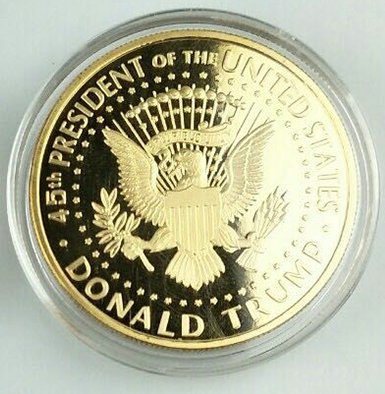 Image of 2018 Donald Trump Replica Gold Piece, 45th Presidential Edition 24kt Gold Plated Coin, Each Coin Comes With Gift Box, Certificate Of Authenticity, Display Case & Stand.
