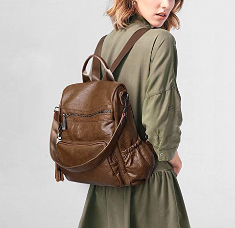 Women's Backpack Purse PU Imitation Washed Leather Convertible Ladies Rucksack Tassel Zipper Pocket Shoulder Bag