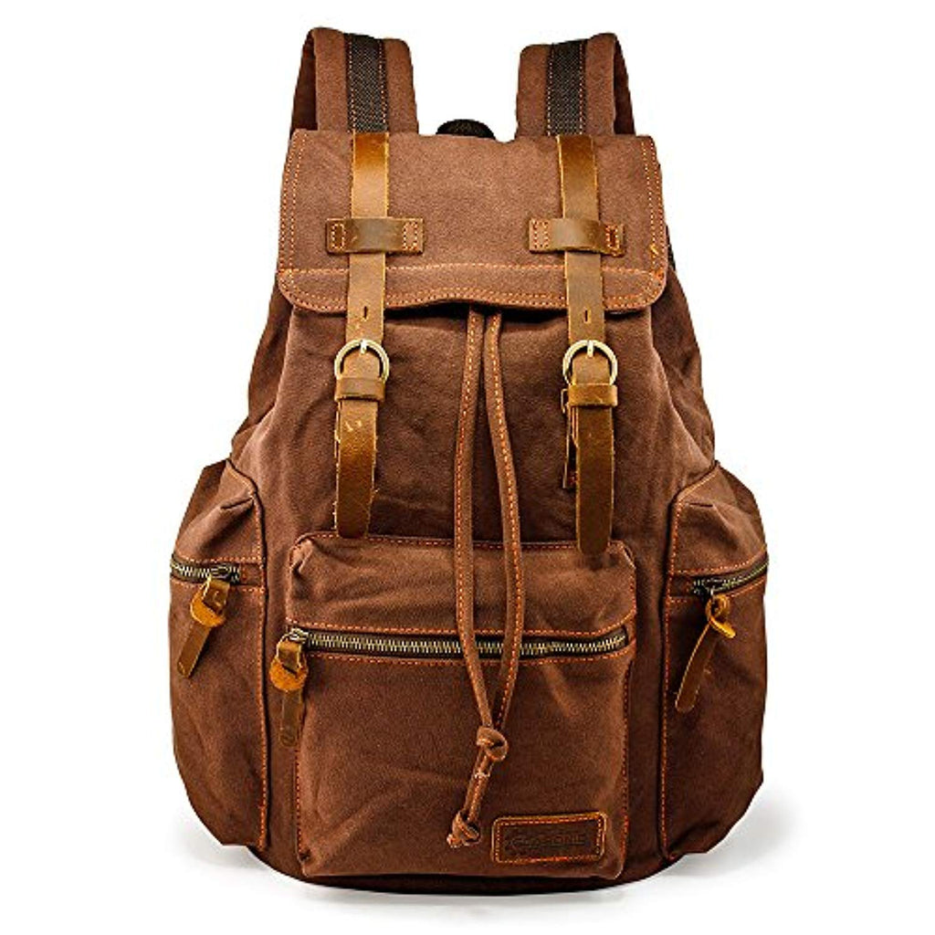 Mens 21L Vintage Canvas Backpack Leather Laptop School Military