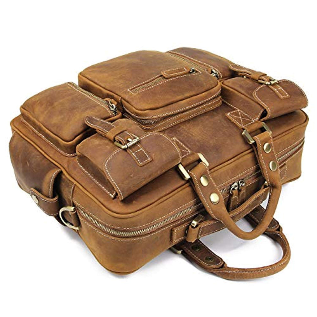 Handmade Vintage Full Grain Cowhide Leather 15.6 Inch laptop Briefcase Messenger Bag Tote