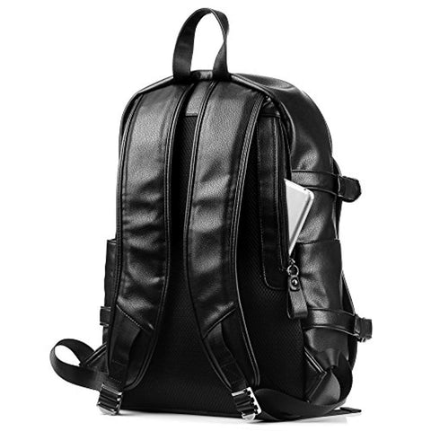Image of Leather Backpack, 15.6 inch Business PU Soft Leather Anti Theft Backpack for Men School College Bookbag Laptop Computer Bags, PU Leather Travel Backpack with Headphone Ports