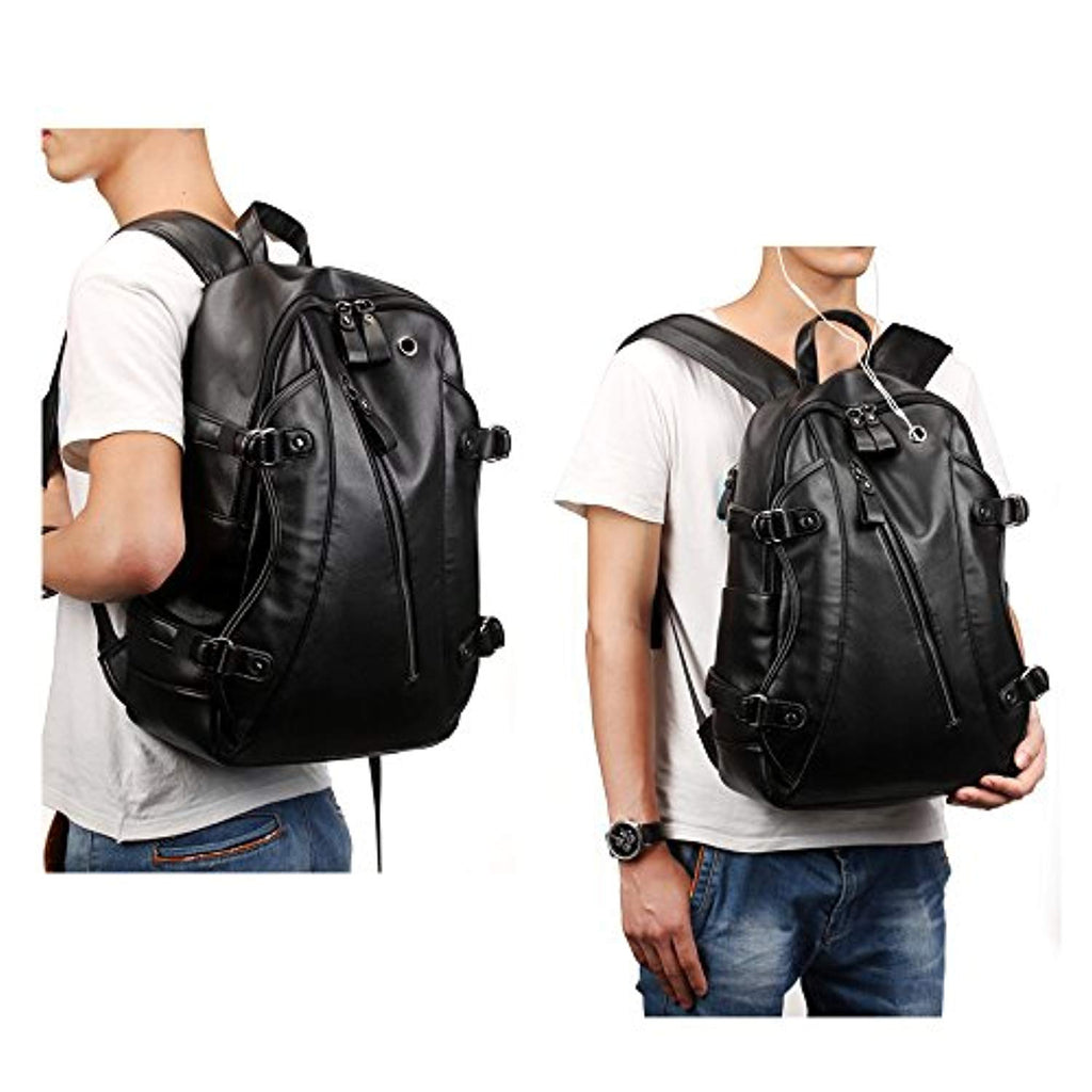 Leather Backpack, 15.6 inch Business PU Soft Leather Anti Theft Backpack for Men School College Bookbag Laptop Computer Bags, PU Leather Travel Backpack with Headphone Ports