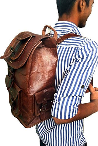 "Image of 18"" Leather Backpack Travel rucksack knapsack daypack College Bag for men women"
