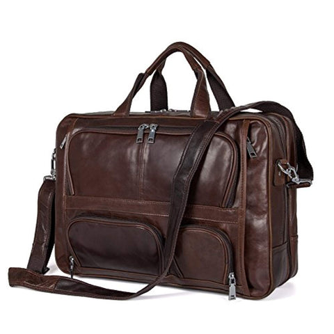 Business Travel Briefcase Genuine Leather Duffel Bags for Men Laptop Bag fits 15.6 inches Laptop