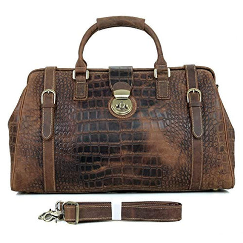 "Image of 21"" Crocodile Pattern Cowhide Leather Weekender Travel Overnight Luggage Duffel Bag"