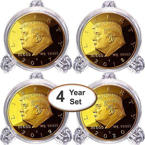 Image of Donald Trump 4 Gold Coin Set, 1st Term Presidential Collector's Edition, Gold Plated Replica Coins 2017-2018 - 2019-2020, Clear Display Stands, Cert. of Authenticity (Clear 1 Pak)