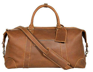 Vintage Expandable Duffel Bag Leather Weekender Luggage Travel Bag [18