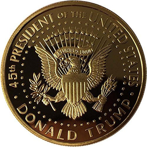Image of 2017 Donald Trump 45th President, Collectors Edition 24kt Gold Plated Commemorative Replica Novelty Coin, Each Coin Comes With Stand & Display Case  (NOT LEGAL TENDER)