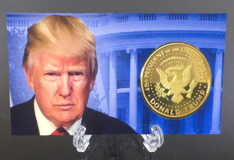 Image of Donald Trump 2nd Term 4 Replica Gold Coin Set, Diamond Display Case