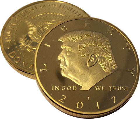 2017 Donald Trump 45th President, Collectors Edition 24kt Gold Plated Commemorative Replica Novelty Coin, Each Coin Comes With Stand & Display Case  (NOT LEGAL TENDER)