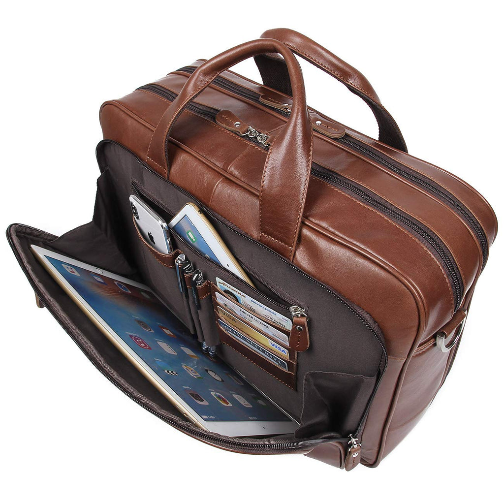 Business Travel Briefcase Genuine Leather Duffel Bags for Men Laptop Bag fits 15.6 inches Laptop (Brown)