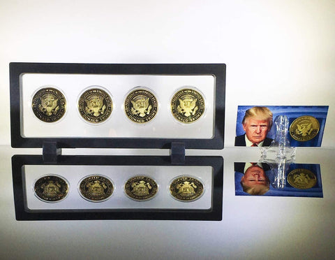 eTradewinds Donald Trump 2nd Term 4 Coin Set, Rectangle Display Case, Cert. of Auth