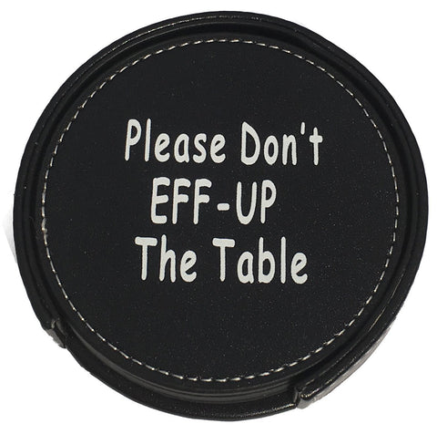 Drink Coaster Set Housewarming Gifts - Funny Gag Gift For Table, Bar And Furniture Protection - Leather Coaster For Beer, Wine, And Glass Bottles