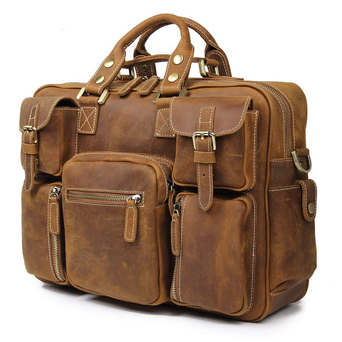 Image of Handmade Vintage Full Grain Cowhide Leather 15.6 Inch laptop Briefcase Messenger Bag Tote