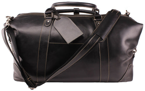 "Vintage Expandable Duffel Bag Leather Weekender Luggage Travel Bag [18"" Black]"