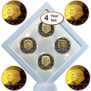 Donald Trump Gold Coin Set, 4 Year Presidential Term Collector's Edition, Commemorative Gold Plated Replica Coins 2017, 2018, 2019, 2020, Diamond Display Case, Cert. of Authenticity (White 1Pak)