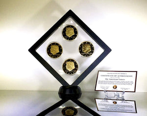 Donald Trump 2nd Term 4 Replica Gold Coin Set, Diamond Display Case