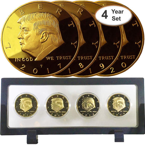 Image of Donald Trump 4 Gold Coin Set, 45th 1st Term Presidential Collector's Edition, Commemorative Gold Plated Replica Coins 2017-2018 - 2019-2020, Rectangle Display Case, Cert of Authenticity (Blk 1Pak)