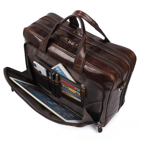 Image of Business Travel Briefcase Genuine Leather Duffel Bags for Men Laptop Bag fits 15.6 inches Laptop (Brown)