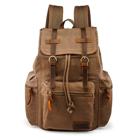 Image of Mens 21L Vintage Canvas Backpack Leather Laptop School Military