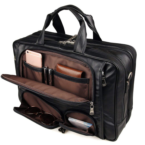 Image of Business Travel Briefcase Genuine Leather Duffel Bags for Men Laptop Bag fits 15.6 inches Laptop