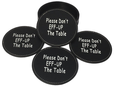 Image of Drink Coaster Set Housewarming Gifts - Funny Gag Gift For Table, Bar And Furniture Protection - Leather Coaster For Beer, Wine, And Glass Bottles