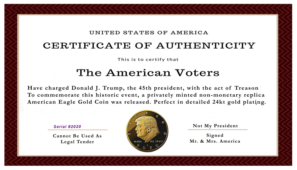 Not My President - Donald Trump Treason & Impeachment, 24kt Gold Plated Coin Says it All - Perfect Anti Trump Novelty for The Trump Hater in Your Life - Gift Box, Stand, Certificate of Authenticity