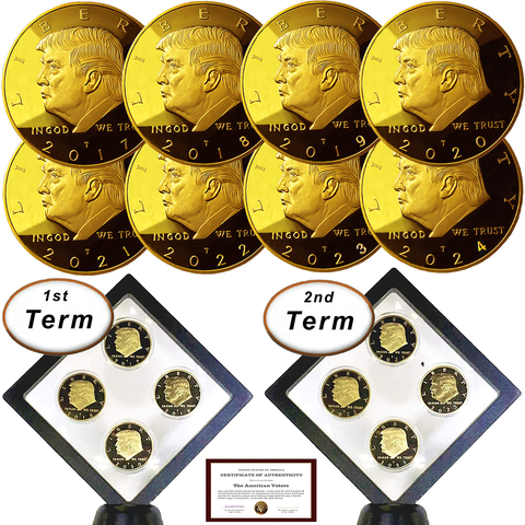 Image of Donald Trump 2 Term 8 Coin Set, 8 Year Collector's Edition, Gold Plated Replica Coins 2017,18,19,20,21,22,23,24 Diamond Display Case, Cert. of Auth.