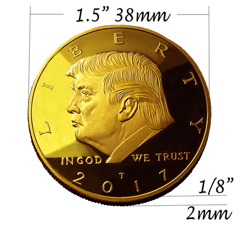 Donald Trump 2 Term 8 Coin Set, 8 Year Collector's Edition, Gold Plated Replica Coins 2017,18,19,20,21,22,23,24 Diamond Display Case, Cert. of Auth.
