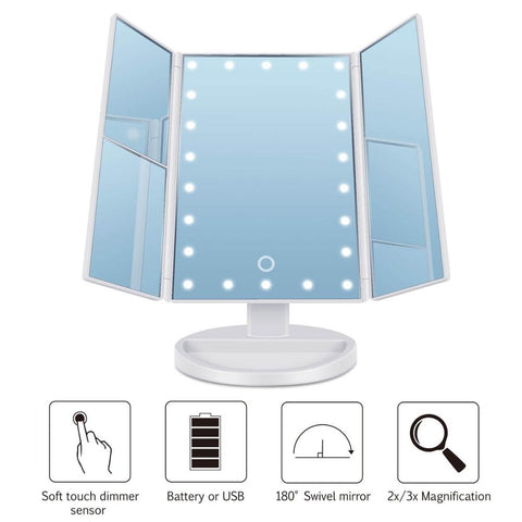 Trifold Vanity Mirror - 22 LED Countertop or Portable Travel Cosmetic Lighted Makeup Mirror w/ On Off and Brightness Control Touch Screen 1x/2x/3x/10X Magnification - Dual Power Supply