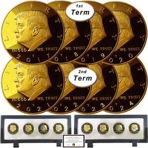 Donald Trump 2 Term 8 Coin Set, 8 Year Collector's Edition, Gold Plated Replica Coins 2017,18,19,20,21,22,23,24 Rectangle Display Case, Cert. of Auth.