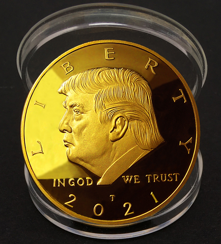Image of 2021 Keep America Great Doald Trump Gold Coin | Official Snowflake Detector/Kryptonite | Ramp Up Now For The 2020 Electoral Win & 2021 Inauguration | 24kt Gold Plated Medallion, Stand & Display Case