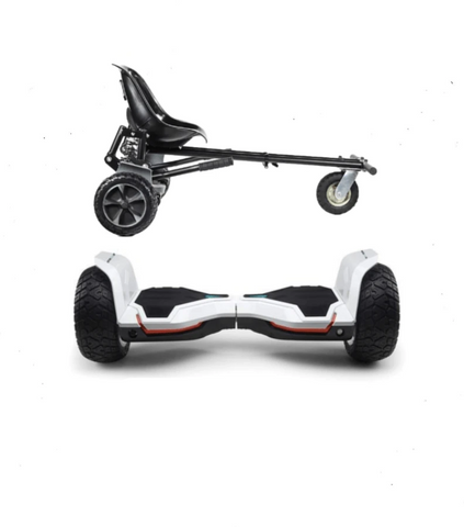 UPDATED White Warrior Hoverboard Hummer, Hoverkart Bundle with App Control