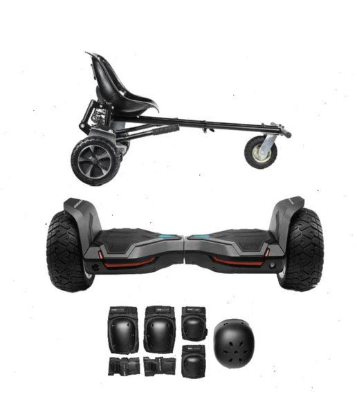 UPDATED Black Warrior Hoverboard Hummer, Hoverkart Bundle with App Control
