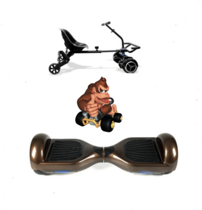 2019 SUPER MARIO DONKEY KONG  -  6.5 Brown classic Swegway Hoverboard + Black  Hoverkart Bundle Deal - TheSwegWay-UK