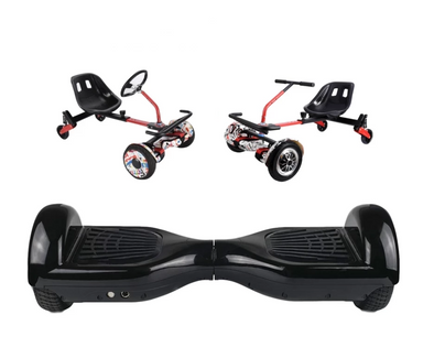 UNLEASH THE RACER IN YOU!! -- Racer Steering Wheel Hoverkart + Hoverboard Bundle - Black - TheSwegWay-UK